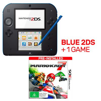 Nintendo 2DS Blue + Mario Kart 7 - Nintendo 3DS - BRAND NEW