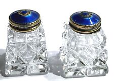 NORWAY STERLING SILVER GUILLOCHE ENAMEL CRYSTAL VINTAGE SALT PEPPER SHAKER PAIR