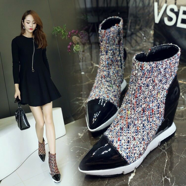 Womens ladies ladies ladies Fashion Patent Tweed Pointed Toe Wedge Heel Ankle Boots shoes Sea a396a9