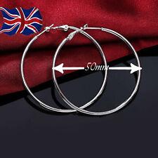 b621c1523 925 Sterling Silver Plated Hoop Earrings Large Hooped Sleeper 50mm 5cm  Ladies