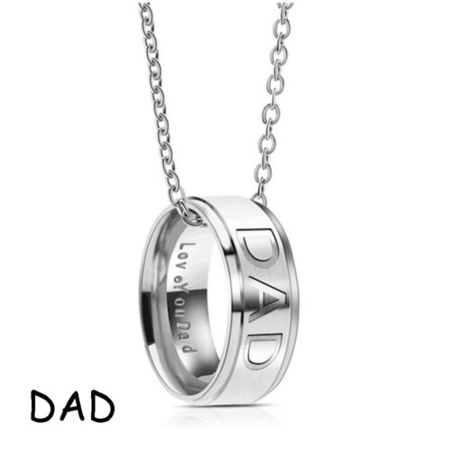 Chic Stainless Steel MOM DAD Ring Pendentif Collier Carved Letters Love You Mom