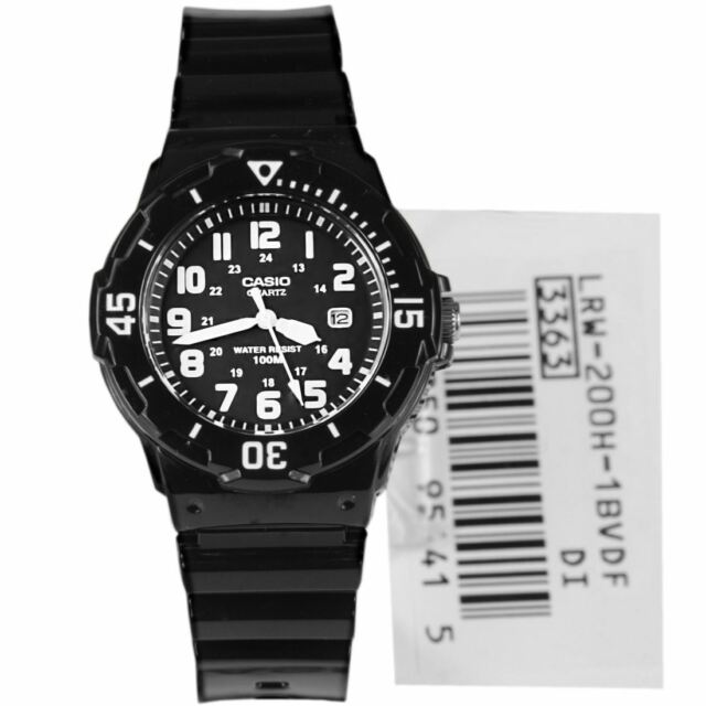 LRW-200H LRW-200H-1B Casio Analog WR100m Black Resin Bracelet Date 100m Watch