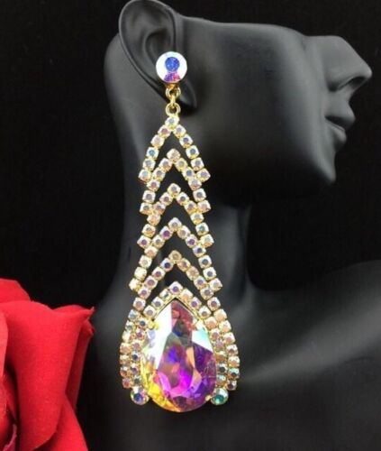 Elegant Pageant Queen Prom Aurora Borealis Crystal Teardrop Earrings Gold Tone