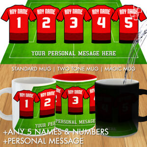 promo code 1fce2 c7716 Details about NEW MANCHESTER UNITED HOME 2018 KIT MUGS FOOTBALL  PERSONALISED MUG DREAM TEAM