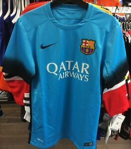big sale a947f 09dc6 Details about Team FC Barcelona Authentic Light Blue Top Jersey Royal  Soccer Large Football