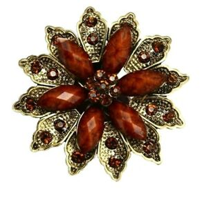 BROOCH-Brown-Flower-Crystal-Rhinestone-Pin-on-Brooch-Mothers-Day-Gift-for-Mum