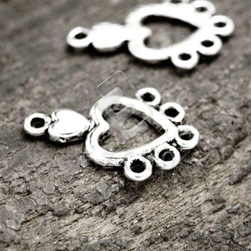 100stk.Verbinder Charm Anhänger Links Tibet Silber Herz 19x12x1.5mm PP Flach