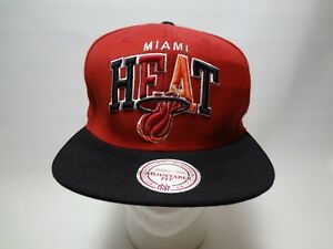 b52478cb2589 Miami Heat Mitchell   Ness NBA Snapback Hat Wool Cap Hardwood ...