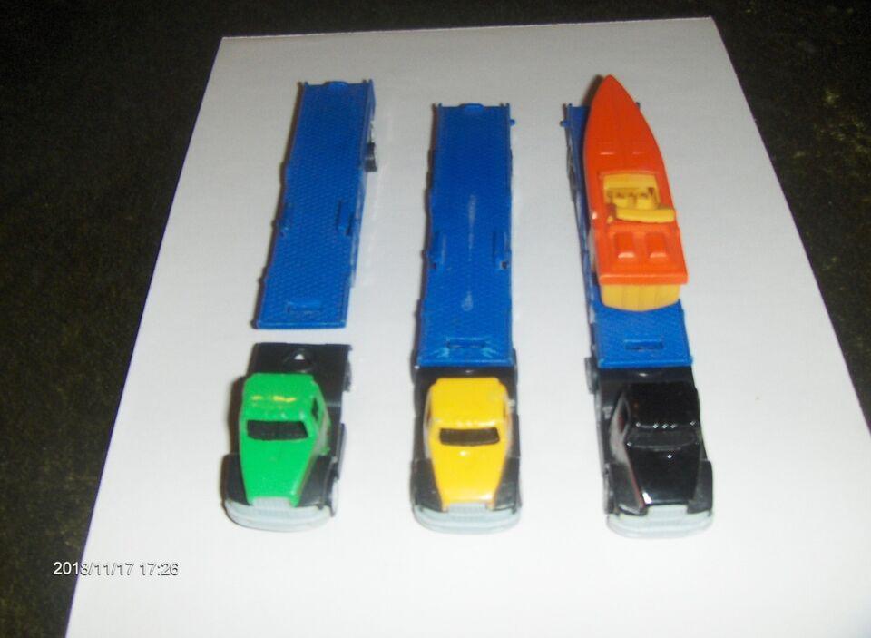Andet legetøj, 3 LASTBILER MED 3 LANGE ANHÆNGERE TIL f.eks.