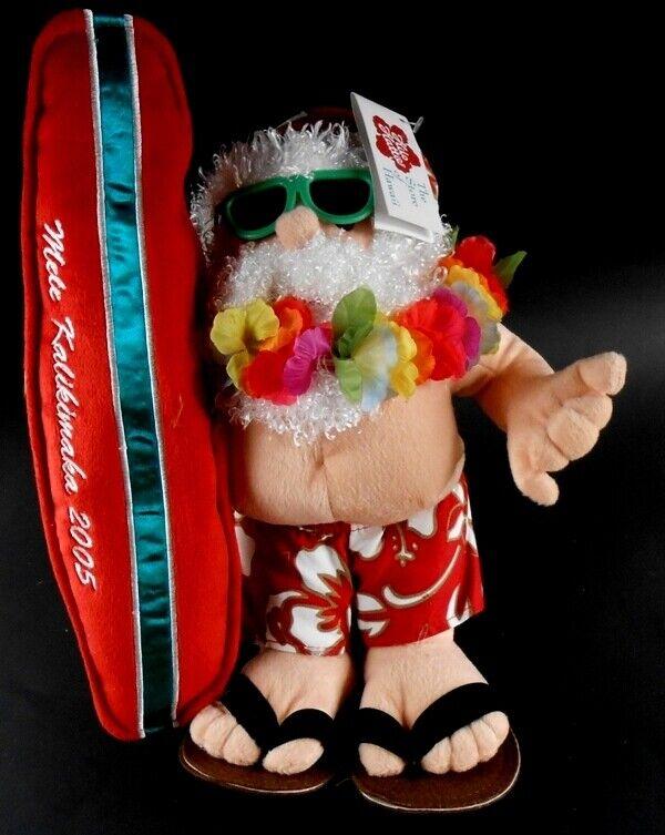 Hilo Hattie 2005 Santa Claus Plush w  Surfboard Stuffed Mele Kalikimaka w  Tags