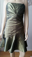 FASHION PRETTY Green Satin Style Pleated Bead & Sequin Dress S: Lge BNWT