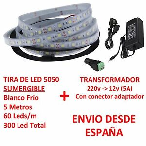 Kit-Tira-de-Led-5050-SUMERGIBLE-Blanco-Frio-Transformador-5A-Waterproof-IP67
