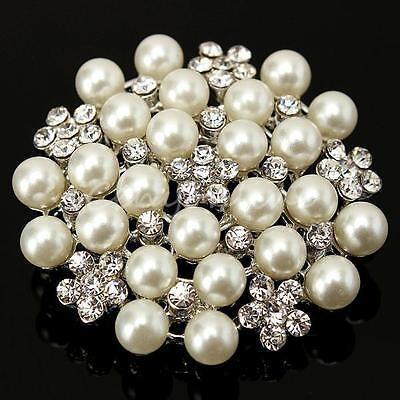Diamante Pearl / Rhinestone Silver Tone Crystal Vintage Flower Alloy Brooch Pin