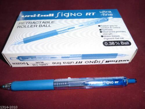 Uni-ball Signo RT UMN-138 ultra fine 0.38 mm gel pen BLUE ink  x12 pcs  in a box
