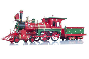 Holiday-Christmas-Ornament-Steam-Locomotive-1900s-Metal-Model-27-5-034-Train-Decor
