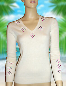S `dor shmere Luxury 38 36 Luxe m 100 Cashmere Sweater Miami White Oh Pink tw5nCqn7