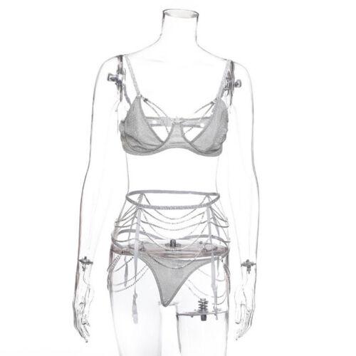 Womens Rhinestone Chain Bra Set Underwear with Suspender Sleepwear Bikini