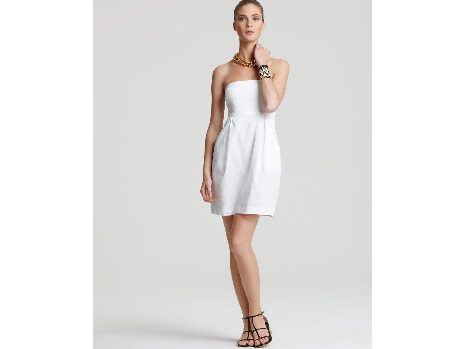 275 Theory Tyrah Crunch Stretch White Strapless Dress 10