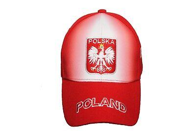 POLSKA POLAND FLAG Embroidery Embroidered Beanie Skull Cap Hat Red