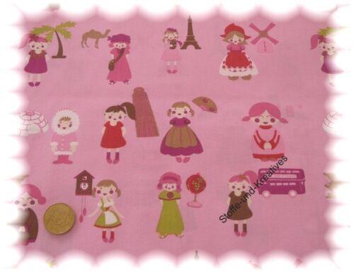 Multiculti  Popeline//Baumwolle rosa /_ Rest 53 cm Stoffrest Stenzo