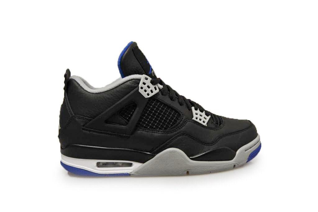 Mens Nike Air Jordan 4 4 4 Retro - 308497 006 - Black Grey Blue Trainers