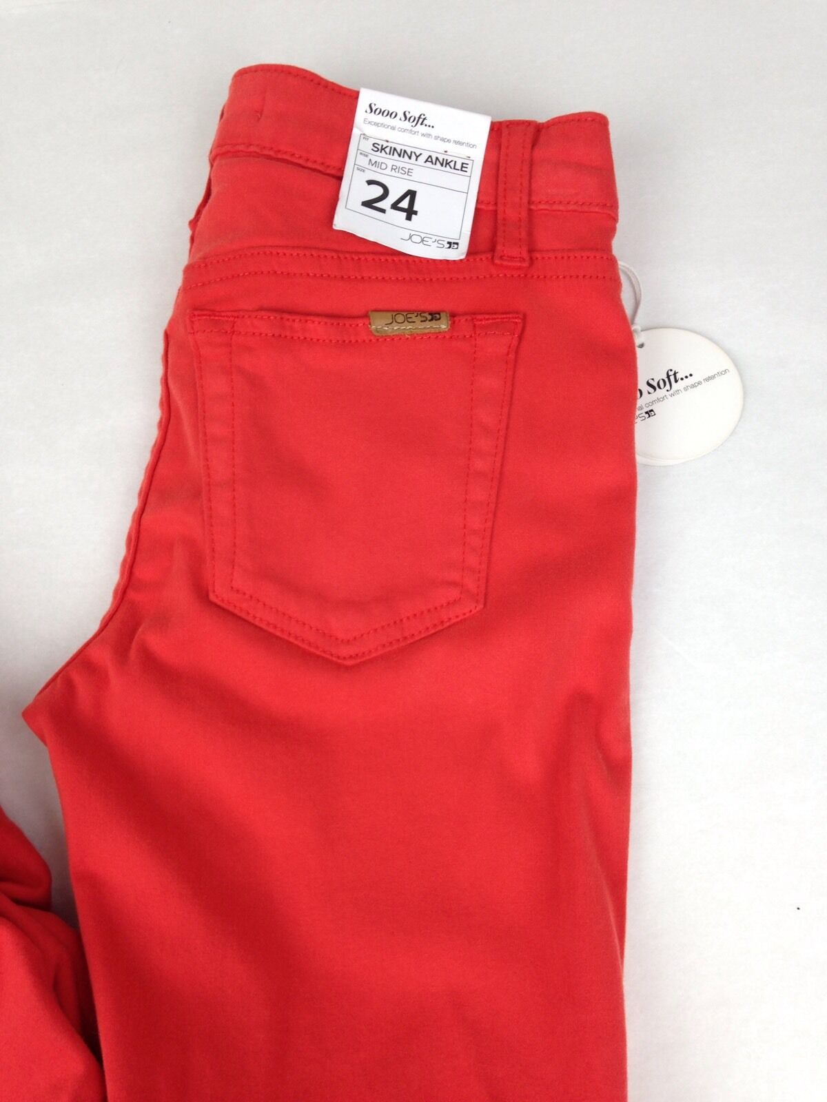 JOE'S JEANS Sooo Soft Mid Rise Legging Jeans in Coral Red NWT   sz 24