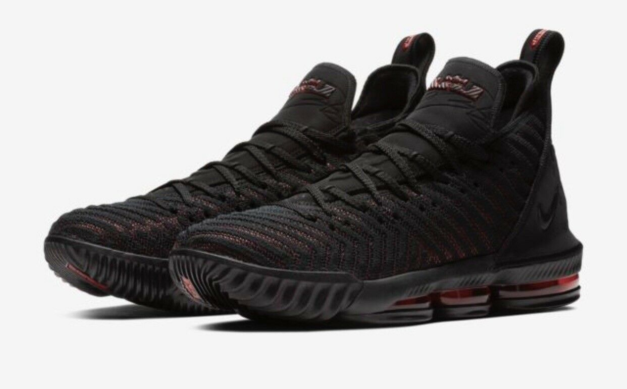 LeBron 16 Mens 10 Women's 11.5 Black University Red Black Basketball shoes