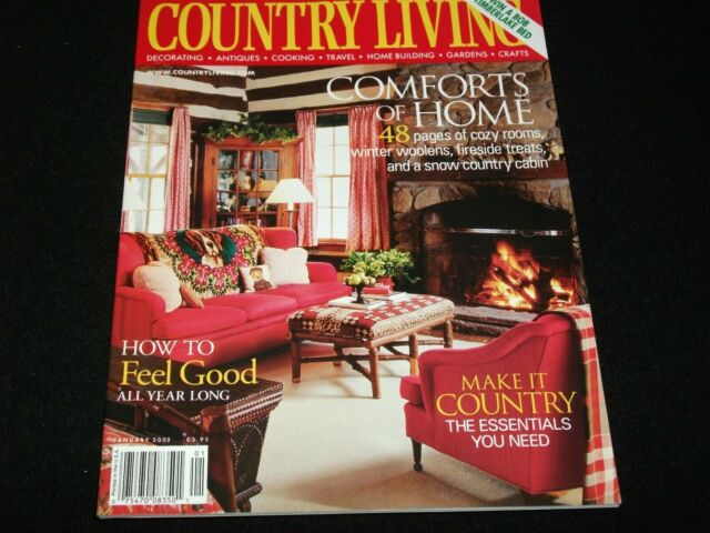COUNTRY LIVING MAGAZINE<>JANUARY 2002<> COMFORTS OF HOME; 48 PAGES