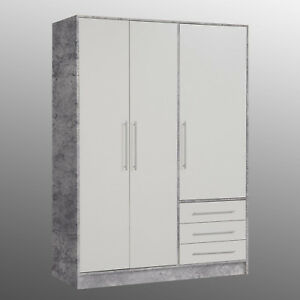 kleiderschrank jupiter dreht renschrank schlafzimmerschrank in beton wei 145 cm ebay. Black Bedroom Furniture Sets. Home Design Ideas