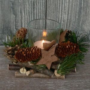 holzkranz mit deko windlicht advent adventskranz weihnachten holz glas tischdeko ebay. Black Bedroom Furniture Sets. Home Design Ideas