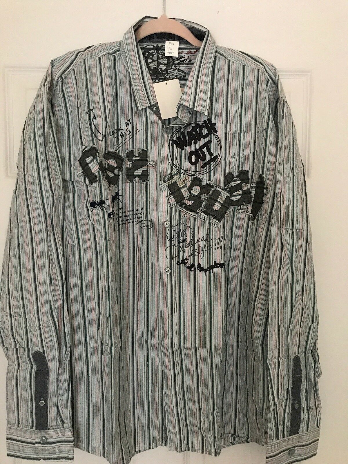 df5879814 Desigual Mens Design Button Down Shirt 3XL Multi norawv1871-Casual Shirts &  Tops