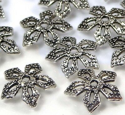 Craft DIY Jewelry Making Beads 25 Antique Silver Pewter Flower Bead Caps 11mm