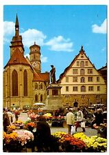 Stuttgart Stiftskirche Postcard Germany Collegiate Church Flowers Statue Vintage