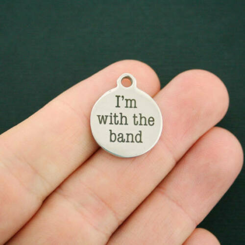 Music Stainless Steel Charms BFS237 I/'m with the band Quantity Options