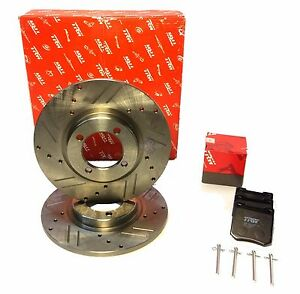 Pair-New-Drilled-Slotted-Brake-Rotors-Triumph-Spitfire-TRW-Ceramic-Pads-Pins