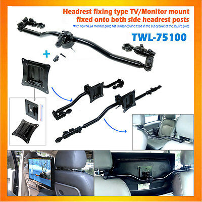 Two-way fixing method headrest mount TV monitor mount with a gear fixing plate