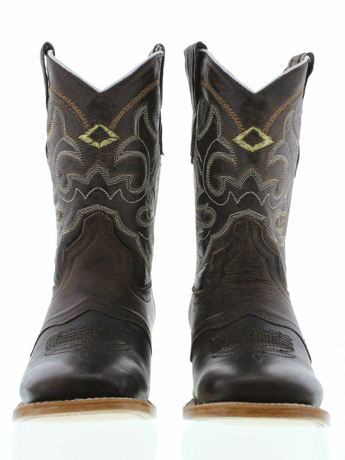 Femmes Femmes Femmes Marron Mi-Mollet Cowboy Rodeo Leather Wear Casual Bout Carré bottes e5ce01