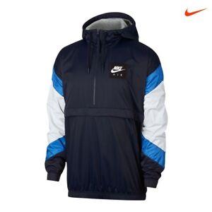 Nike Air Woven Mens Half Zip Pullover Hoodie Jacket L Blue Anorak ... 75091bfae17c