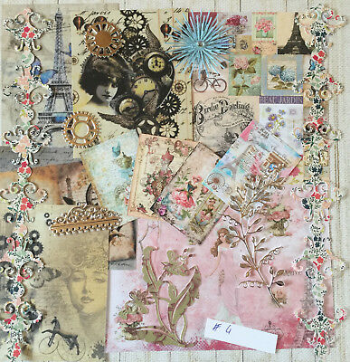 card toppers bundle joblot vintage bun 10 Craft clearout mix paper die cuts