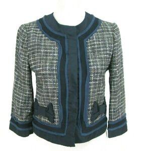 Blue Ribbon Giacca Bow Bcbg Blazer Xs Max Nwot Tweed Azria Sz Cropped Trim HqXwz6Fq