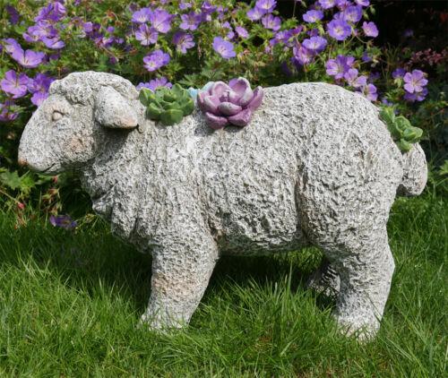 50x32cm Sheep Garden Ornament Stone Lamb Farm Yard Resin Animal Sculpture Decor