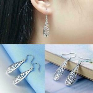 Frauen-Einfache-Schmuck-Mode-Silber-Hohl-Geschnitzte-Wassertropfen-Ohrringe-X6E3