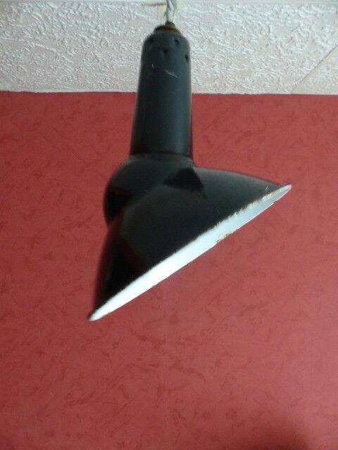 Lampe gamelled'atelier émaillée Mazda émail noir / VINTAGE /ATELIER/INDUSTRIEL