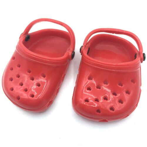 18 inch Girl Boy Doll Clothes Shoes Polliwog Sandal Red Clog American seller