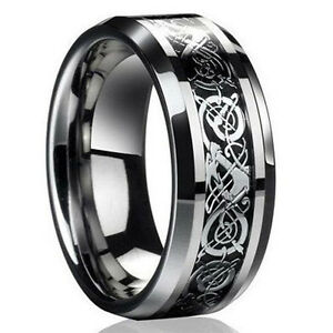 #10 new Silver Titanium Stainless Steel Mens Celtic Dragon Wedding Band Rings