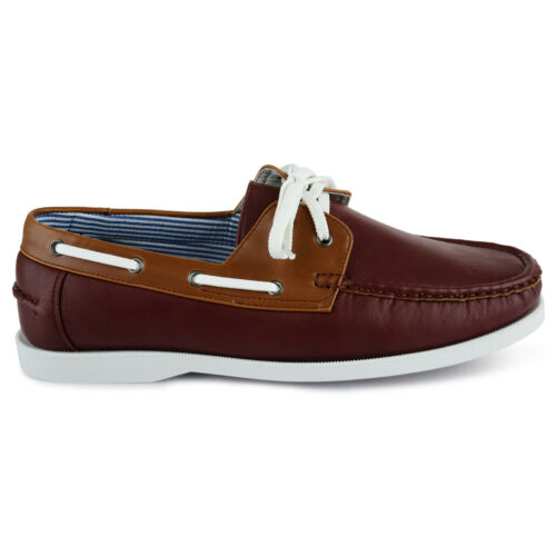 MENS FAUX LEATHER LACE UP DECK BOAT CASUAL SHOES UK SIZE 7 8 9 10 11