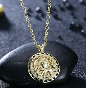 17cecdae86f49 Details about 18K Gold Plated Sun Coin Pendant Necklace 18