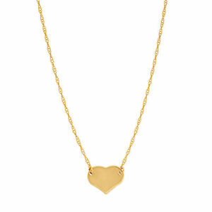 14K Yellow Gold Heart Pendant on an Adjustable 14K Yellow Gold Chain Necklace