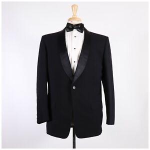 Vintage 60's 42R Black Solid Wool One Button Sport Coat Blazer Tuxedo Jacket