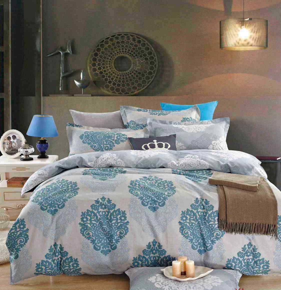 100% Cotton 6 Pieces Duvet cover+Pillow cases+Fitted Sheet Bedding Set 400TC
